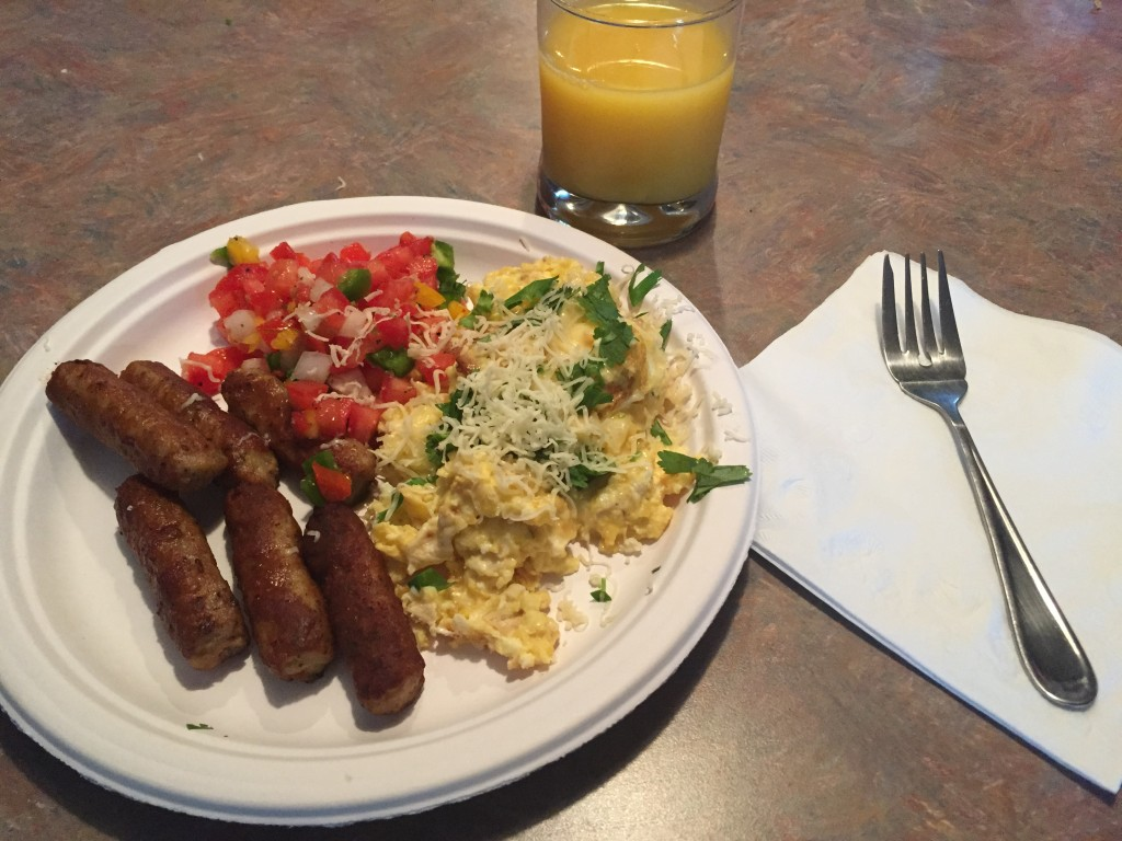 Southwestern-Style Scrambled Eggs With Pico De Gallo And Sausage Links
