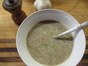 "Delicious! This is the wheat-free cream of mushroom soup AFTER it was blended. I used butter, so I can't call it ""Dairy Free"" :)"