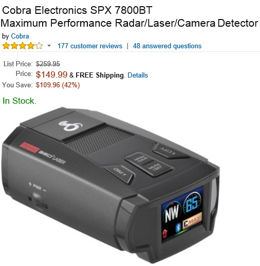 Cobra SPX 7800BT Maximum Performance Radar Laser Camera Detector