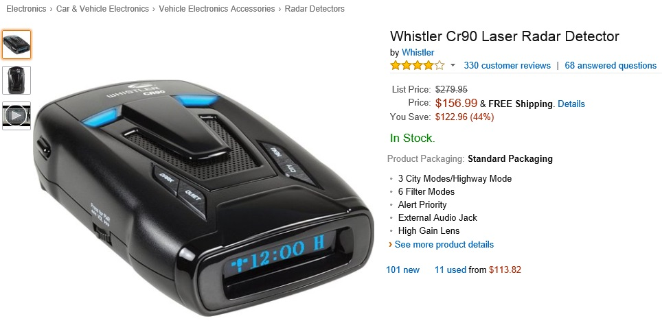 Whistler CR90 Laser Radar Detector on Sale at Amazon