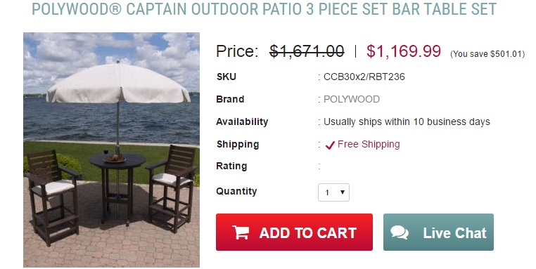 POLYWOOD CAPTAIN OUTDOOR PATIO 3 PIECE SET BAR TABLE SET Home and Patio Decor Center