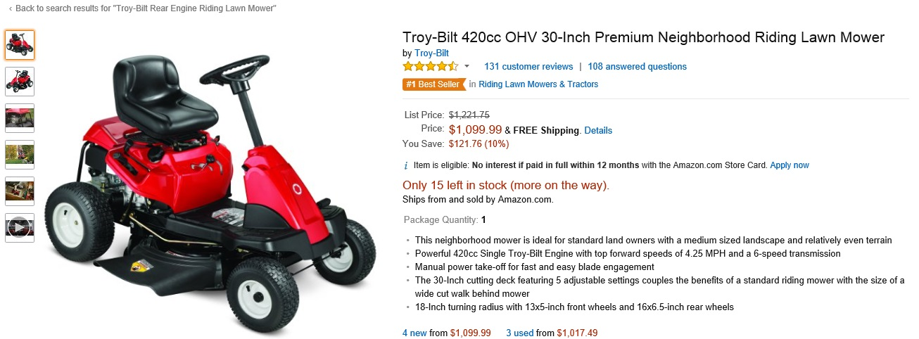 10% and FREE SHIPPING Troy-Bilt 420cc OHV 30-Inch Premium