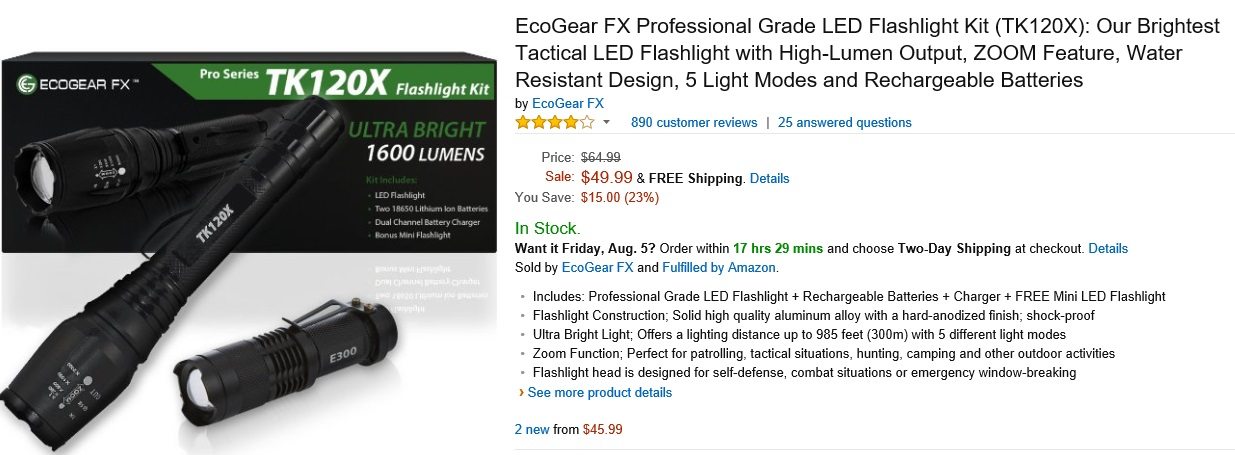 EcoGear FX Professional Grade LED Flashlight Kit TC120X - 1600 lumens
