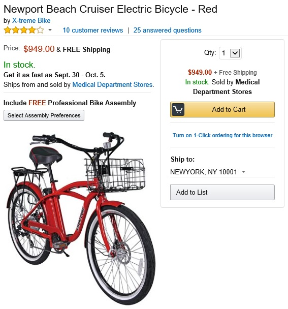 X-Treme Bike Newport Cruiser Electric Bicycle Amazon