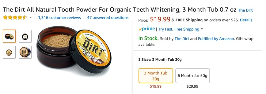 The Dirt Tooth Powder Reviews are VERY good - buy it here on Amazon