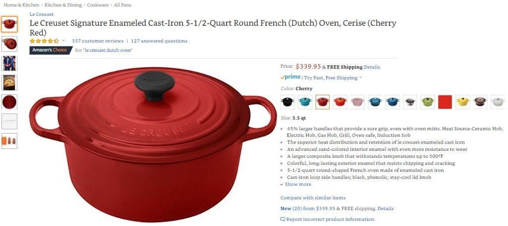 Le Creuset Dutch Oven Sale on Amazon - CLASSIC Cast Iron NEVER goes out of style! Lasts pretty much forever